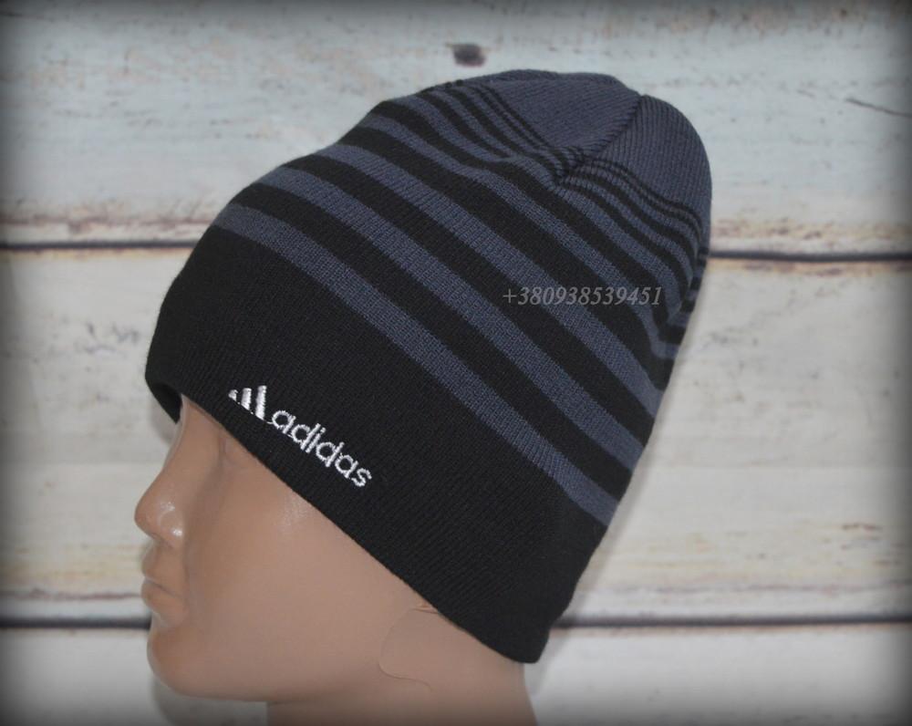 Шапка мужская adidas. подклад  - полный флис. теплая, зимняя, деми. на флисе, флисовая подкладка фото №1