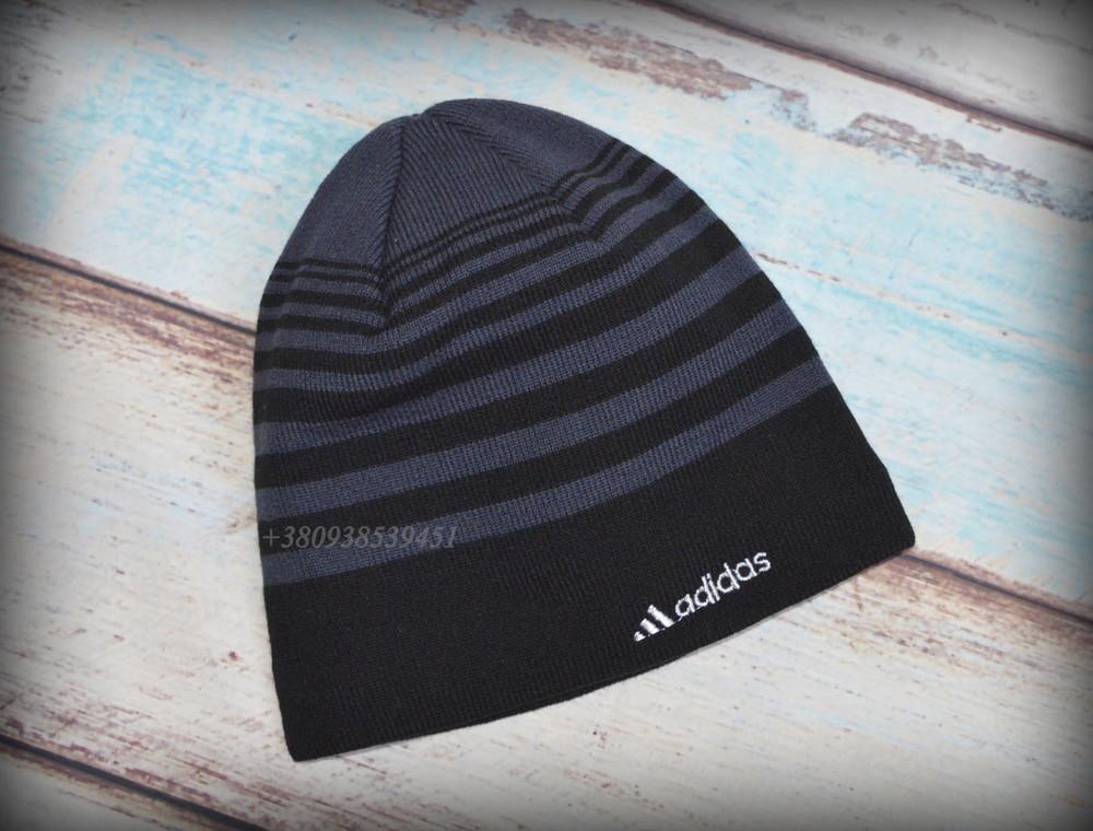 Шапка мужская adidas. подклад  - полный флис. теплая, зимняя, деми. на флисе, флисовая подкладка фото №2
