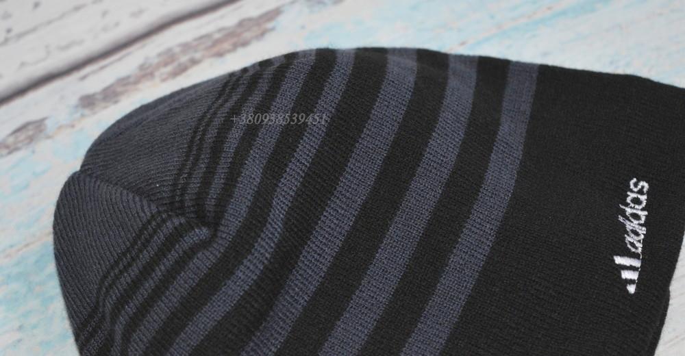 Шапка мужская adidas. подклад  - полный флис. теплая, зимняя, деми. на флисе, флисовая подкладка фото №3