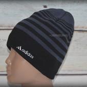Шапка мужская Adidas. Подклад  - полный флис. Теплая, зимняя, деми. На флисе, флисовая подкладка