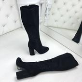 Код 570  Сапоги Деми на устойчивом каблуке, материал Эко-замш, цвет-черный,  высота 40 см , кабл 10,