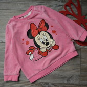 Кофта, свитер с Минни Маус H&M велюр(12-18 мес)-