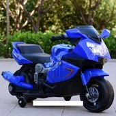 Детский электромотоцикл T-7215 blue мотоцикл, BMW, синий