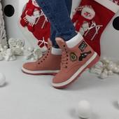 Зимние женские нубуковые ботинки Timber. Р.36-41