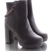 Зимние женские классические ботинки на каблуке