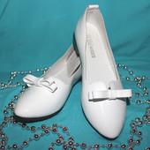 Красывые белые лаковые туфли подростковые 36,37,38  (23 см; 23,5 см; 24 см) Маломерят, см. замеры!