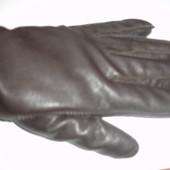 Мужские кожаные перчатки на флисе