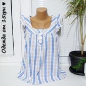 Oasis лаконичная свободная блузка S рр майка хлопок белая голубая клетка