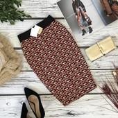 Принтованная юбка-карандаш Pull&Bear с металлической нитью  KI4687