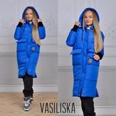 22П10239 Женская теплая удлиненная куртка на синтепоне (42-44 р)