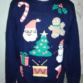 Супер свитер-гирлянда (светится) Новогодний. Мужской. Большой размер.