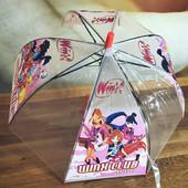 Зонт для девочки зонтик детский прозрачный купольный герои Винкс Winx