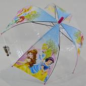Зонт для девочки зонтик детский прозрачный купольный Принцесса Барби Русалочка