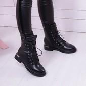 ботинки зимние клепки черные и бронза