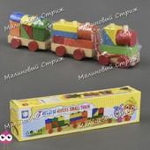 Деревянный поезд каталка С 23090 конструктор городок геометрические фигуры сортер геометрика паровоз