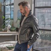 Фирменная мужская натуральная кожаная куртка - размер Л