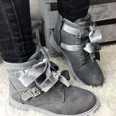 Ботинки женские зимние серые с велюром. Польша