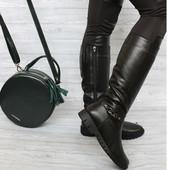 Кожаные стильные сапоги зима 36-40