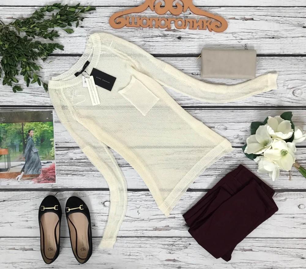 Эффектный свитшот-сетка zara с рукавом-реглан и накладным карманом  cg48166 фото №1