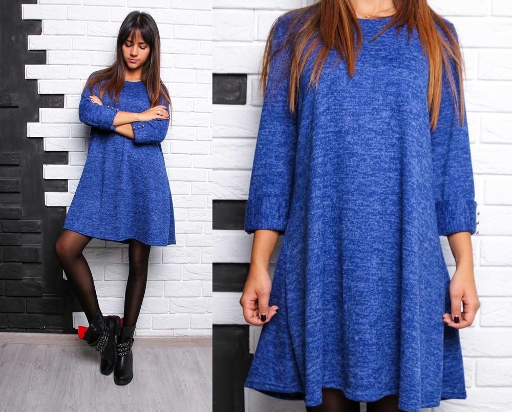 Красивое расклешенное платье с пуговками ангора софт фото №1