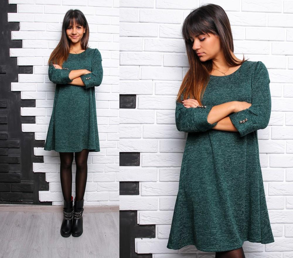Красивое расклешенное платье с пуговками ангора софт фото №6