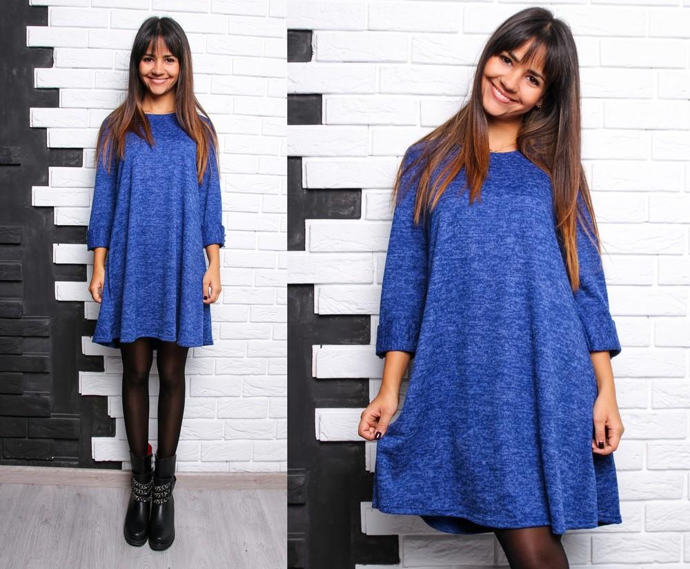 Красивое расклешенное платье с пуговками ангора софт фото №5