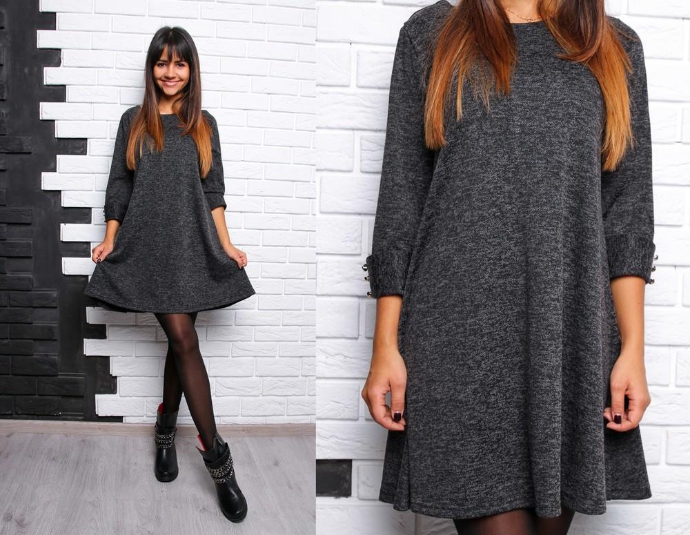 Красивое расклешенное платье с пуговками ангора софт фото №7