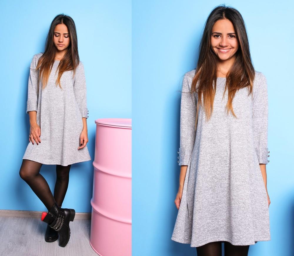 Красивое расклешенное платье с пуговками ангора софт фото №8