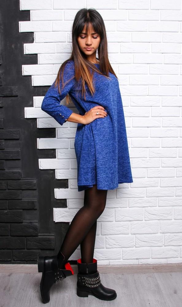 Красивое расклешенное платье с пуговками ангора софт фото №9