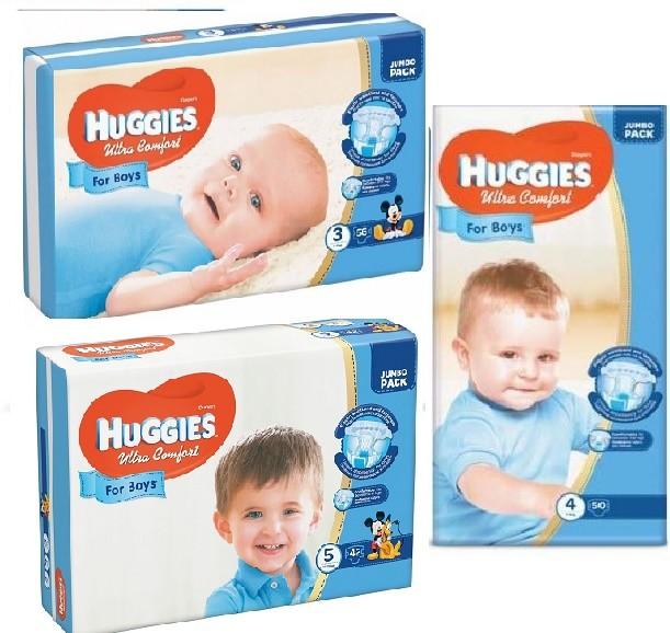Подгузники huggies ultra comfort для мальчиков размеры 3, 4, 5 фото №1