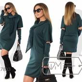 Х7834 Стильное платье+митенки 50-56р 3 цв