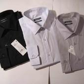 Новая мужская классическая деловая рубашка Тм In Extenso Ашан черная серая белая в полоску р.50-52