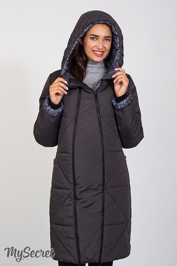 Куртка для вагітних зимова графітова фото №1