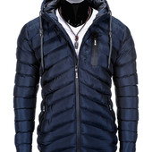 Тёмная мужская зимняя стеганая куртка с капюшоном 3 цвета