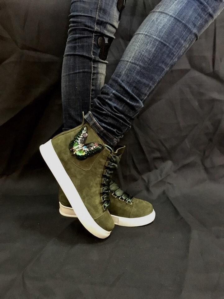 Кеды ботинки  кожа замша новинка ! возможны разные цвета ! фото №1
