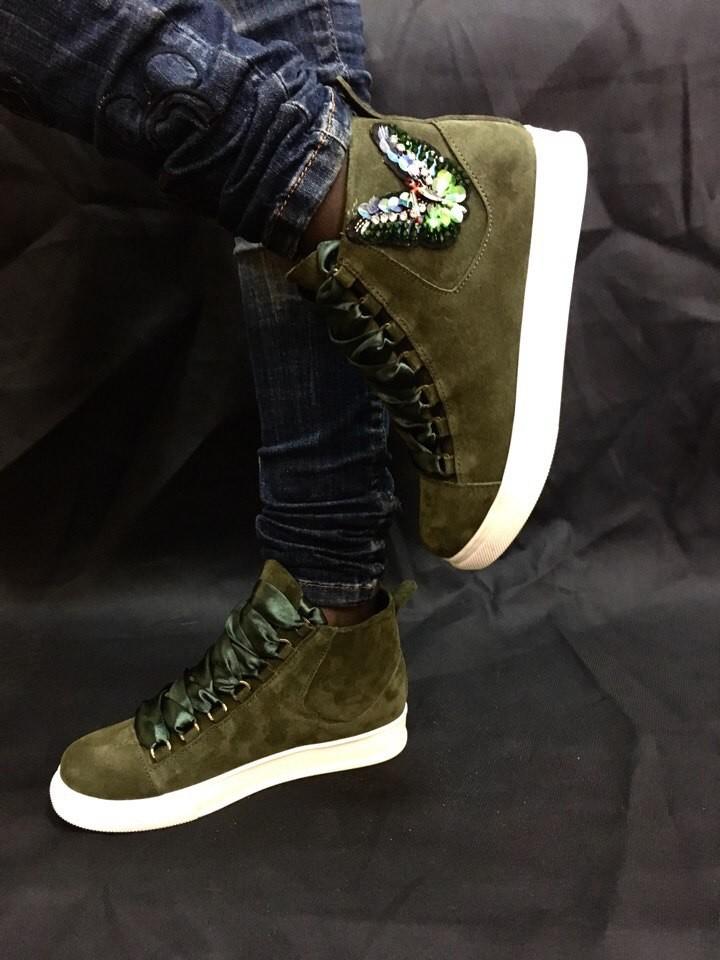Кеды ботинки  кожа замша новинка ! возможны разные цвета ! фото №3