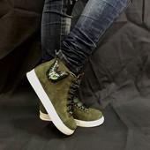 Кеды ботинки  кожа замша Новинка ! Возможны разные цвета !