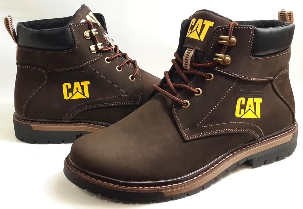 0fd3d3e6c Мужские зимние ботинки cat - caterpillar кожаные коричневые кожаные фото №1