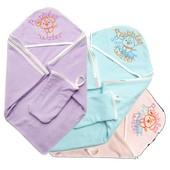Мягенькое махровое детское полотенце с капюшоном 100% хлопок
