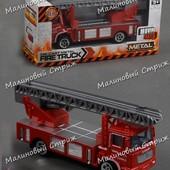 Металлическая пожарная машинка, лестница выдвигается, 14 см