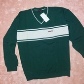 Пуловер мужской темно - зеленого цвета р. 54 / 4XL