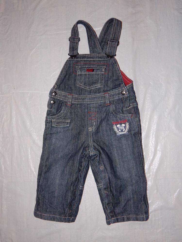 6-9-12 мес., р. 68-74-80 джинсовый полукомбинезон на подкладке ромпер фирменный Baby Club by C&A фото №1