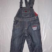 6-9-12 мес., р. 68-74-80 джинсовый полукомбинезон на подкладке ромпер фирменный Baby Club by C&A