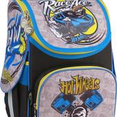 Кайт Рюкзак каркасный ранец Hot Wheels для мальчика 1-4 кл