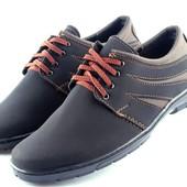 Туфли мужские на шнуровку – черный с коричневым (К12)