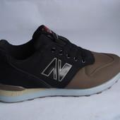 Мужские кроссовки 41-45р черные с коричневым