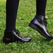Ботинки кожаные на шнурках ,36-40,10125,33