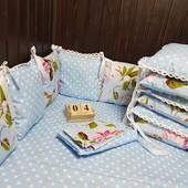 Нежный комплект бортики +постельное в кроватку