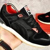 Кроссовки мужские Puma black/red, замш