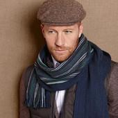 Мужской двухсторонний теплый шарф, полушерсть от Tcm Tchibo, р-р  167*27 см